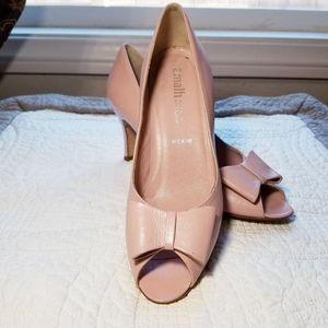 AMALFI blush pink peep toe bow pump heels